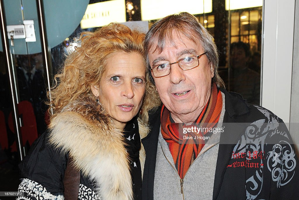 Bill Wyman and his wife Suzanne Accosta attend the opening party for the Rolling Stones pop up shop on Caranaby Street on November 27, 2012 in London, England.