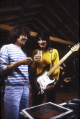 Bill Wyman and Ronnie Wood of the Rolling Stones are photographed while recording at Longview Farm in September 1981 in Worcester Massachusetts...