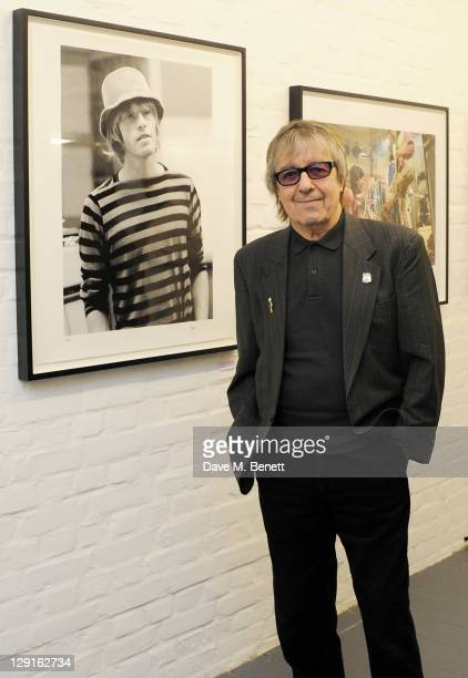 Bill Wyman attends a private view of 'Second Nature' an exhibition of photographs by Bill Wyman at Kenny Shachter Rove Gallery on October 13 2011 in...