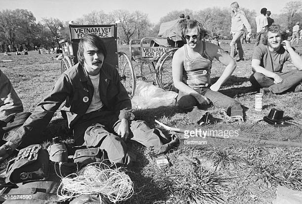 Bill Wyman of Boston and Kim Dehlin of Mississippi who lost their legs in Vietnam camp out on East Potomac Park 4/18 Wyman and Dehlin are here for a...