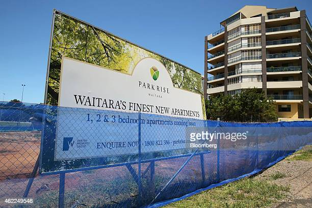 A billboard advertisement for Winten Property Group's Park Rise residential development stands at a construction site in Sydney Australia on Saturday...