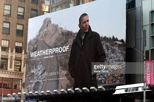 A billboard advertisement with a photo of US President Barack Obama wearing a Weatherproof brand jacket hangs in Times Square January 7 2010 in New...