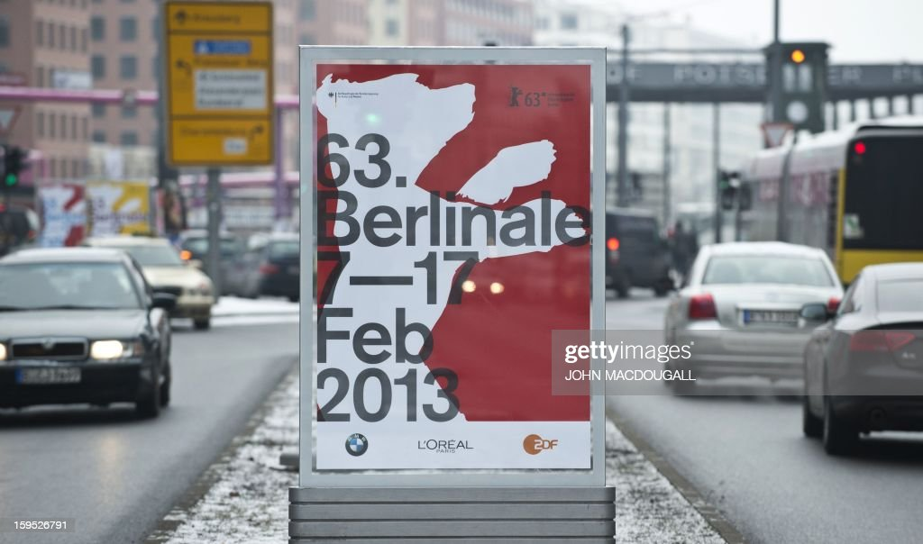 A billboard advertises the 2013 Berlinale film festival at the Potsdamer Platz in Berlin on January 15, 2013. New releases starring Jude Law and Catherine Deneuve and the world premiere of a picture by embattled Iranian director Jafar Panahi joined the line-up of the 63rd Berlin film festival. Keeping with a tradition of bringing high-wattage stars together with champions of hard-hitting political cinema, organisers of the 'Berlinale' unveiled nine new entries to the February 7 to 17 event.