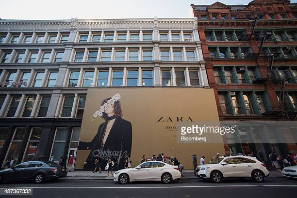 A billboard advertising a planned Zara store stands on Broadway in New York US on Monday Sept 7 2015 The Bloomberg US Weekly Consumer Comfort Index...