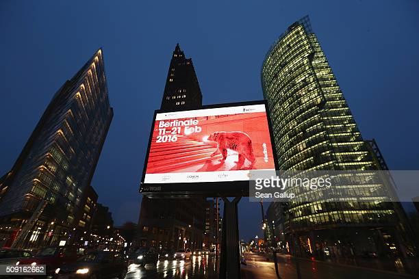 A billboard advertising the upcoming 66th Berlinale international film festival stands at Potsdamer Platz on February 9 2016 in Berlin Germany The...
