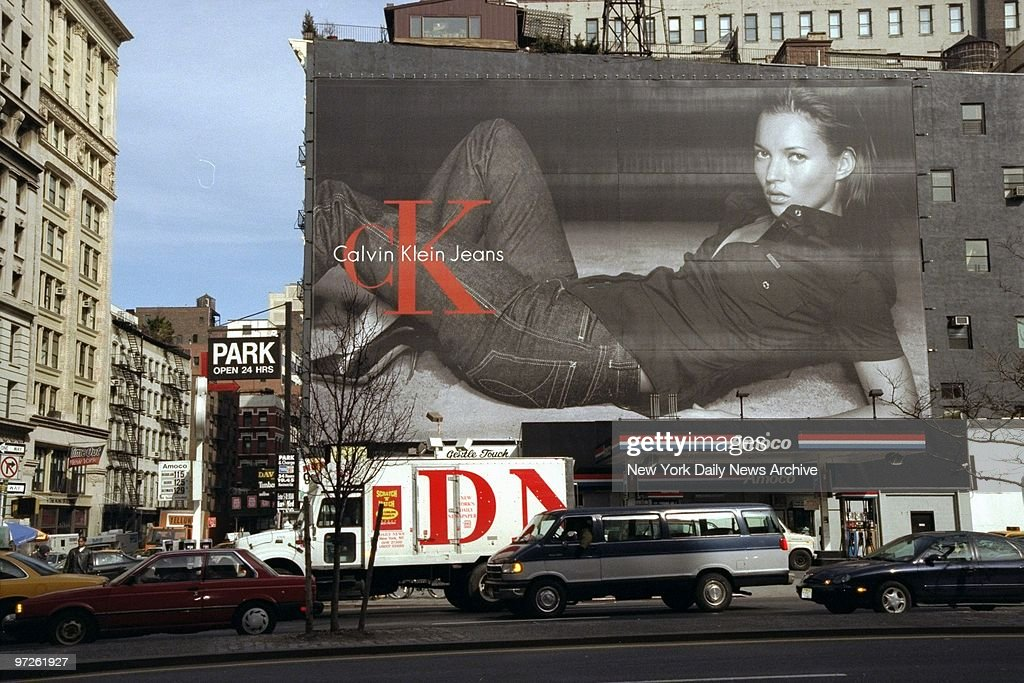 Billboard at Houston Stand Broadway pictures Kate Moss modeling Calvin Klein jeans