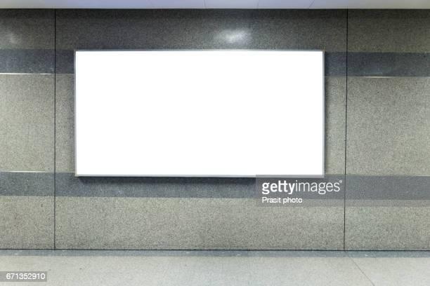 Billboard Banner signal mock up display in subway train station.