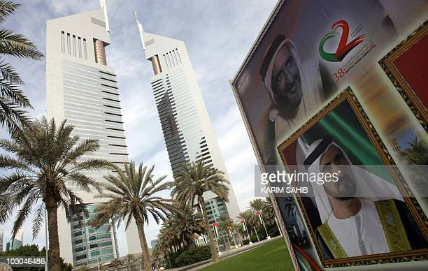 A billboard bearing a picture of Dubai's ruler Sheikh Mohammed bin Rashed alMaktoum vice president and prime minister of the United Arab Emirates is...
