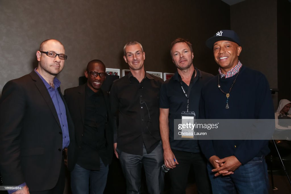 Billboard editornial director Bill Werde, founder/CEO of Atom Factory Troy Carter, president of electronic music at Sony / founder of Ultra records Patrick Moxey, DJ Pete Tong and founder of Def Jam Records Russell Simmons attend IMS Engage in partnership with W Hotels Worldwide at W Hollywood on April 17, 2013 in Hollywood, California.