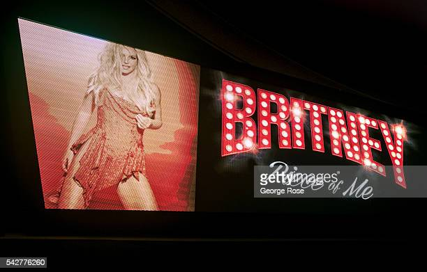 A billboard featuring pop superstar Britney Spears performing at the Planet Hollywood Hotel Casino is viewed on June 9 2016 in Las Vegas Nevada...