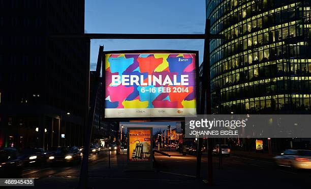 A billboard featuring the logo of Berlinale International Film Festival at Potsdamer Platz in Berlin is pictured on February 5 2014 New movies from...