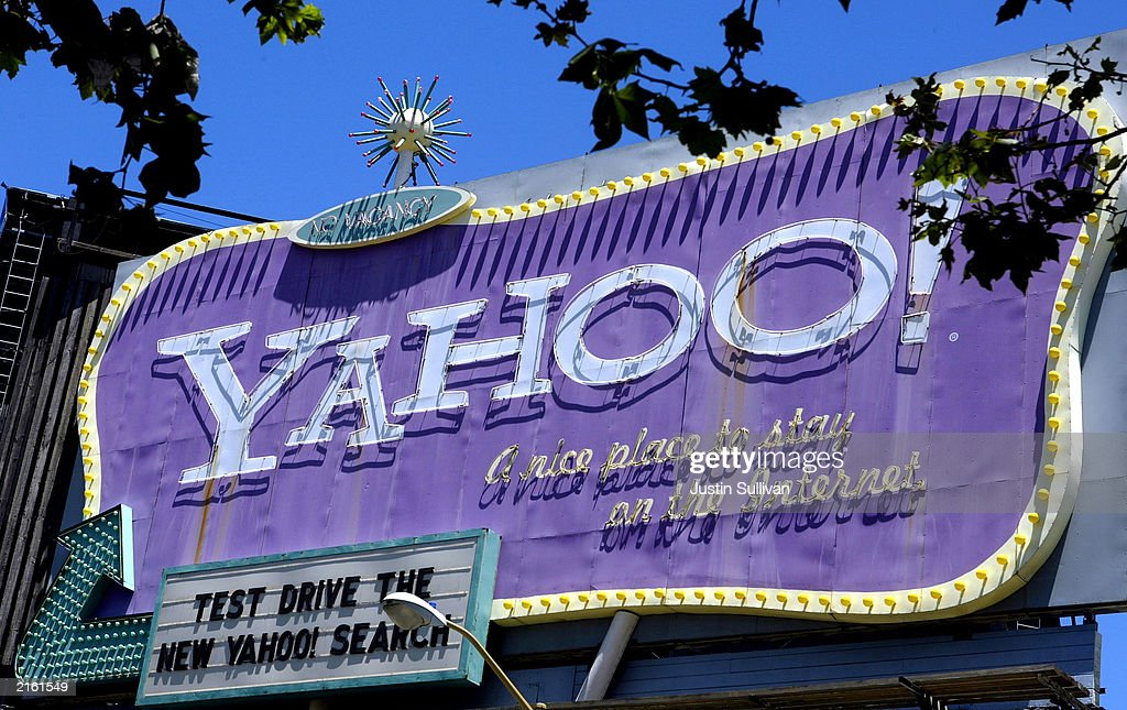 A billboard for Internet company Yahoo!, Inc. is shown July 14, 2003 in San Francisco, California. Yahoo announced today that it would buy Overture Services Inc. for $1.63 billion in cash and stock to strengthen its ad business and compete with a growing challenge from search engine Google. Both companies compete with Google's advertising platform. The move boosted Overture's shares $2.54 today, or 11.18 percent to $24.05. Yahoo finished the day nearly unchanged, up .01 per share.