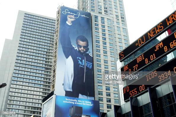 A billboard for Sean John clothing featuring Sean 'P Diddy' Combs is shown in Times Square January 13 2004 in New York City