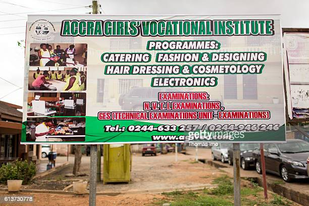 Billboard for the Girls Vocational Training Institute a vocational school for girls Here girls are taught in catering fashion design hairdressing...