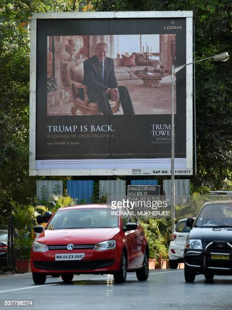 A billboard for the upcoming luxury residential apartment complex Trump Tower Mumbai which bears the name of billionaire real estate tycoon and US...