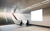 Billboard mock up Neon light box for advertising in subway with escalator