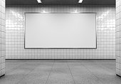 Blank horizontal billboard on the metro station. 3D rendering.