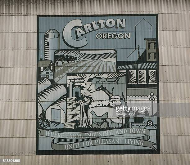 A billboard on a grain silo located in the Yamhill Carlton District AVA is viewed on October 5 in Carlton Oregon Dundee Carlton McMinnville and...