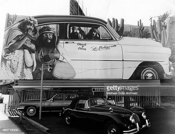 A billboard on Sunset Boulevard advertises comediansTommy Chong and Cheech Marin for the release of their album 'Los Cochinos' which was released in...