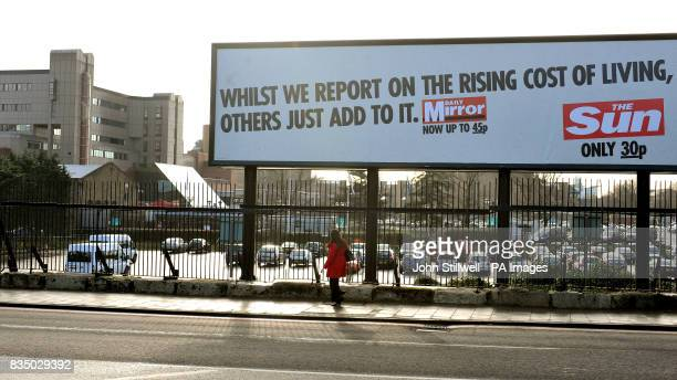 A billboard outside the News International Newspapers offices in Wapping east London