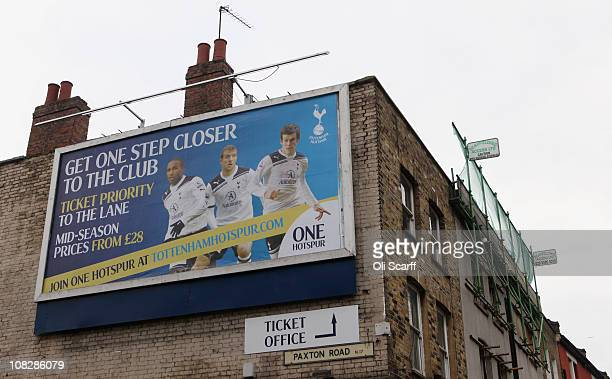 A billboard outside Tottenham Hotspur football club's White Hart Lane stadium in north London on January 24 2011 in London England Tottenham and West...