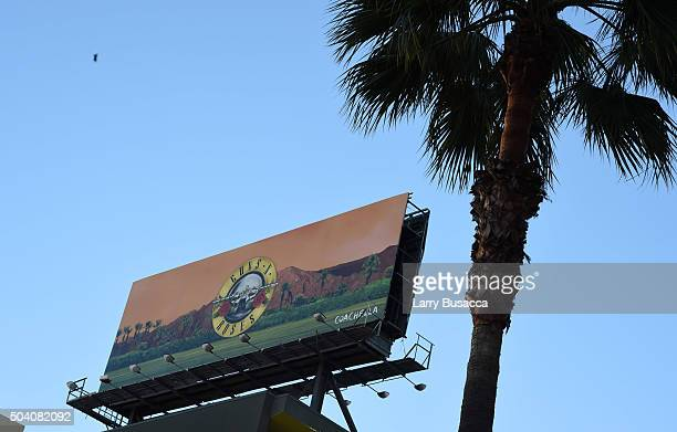 A billboard promoting Guns N' Roses upcoming appearance at Coachella 2016 is seen above Wilshire Blvd on January 8 2016 in Los Angeles California