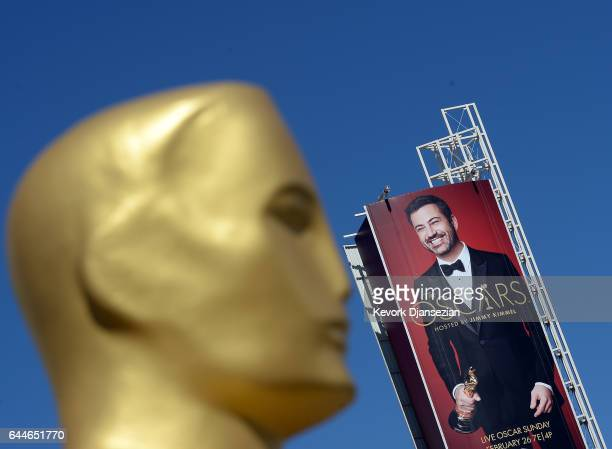 A billboard showing Oscar host Jimmy Kimmel and an Oscar statue seen in preparation for the 89th Academy Awards at Hollywood and Highland Center on...