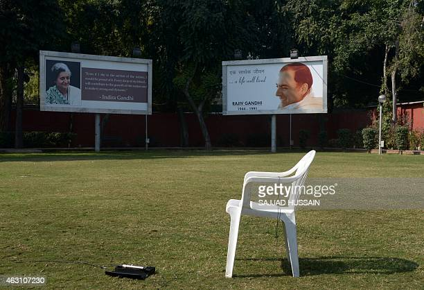 Billboards bearing images of former Pprime ministers the late Indra Gandhi and Rajiv Gandhi hang at the All Indian Congress Committe office in New...