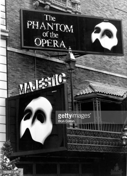 Billboards for Andrew Lloyd Webber's musical 'Phantom of the Opera' outside the Majestic Theatre before the Broadway premiere New York 21st January...
