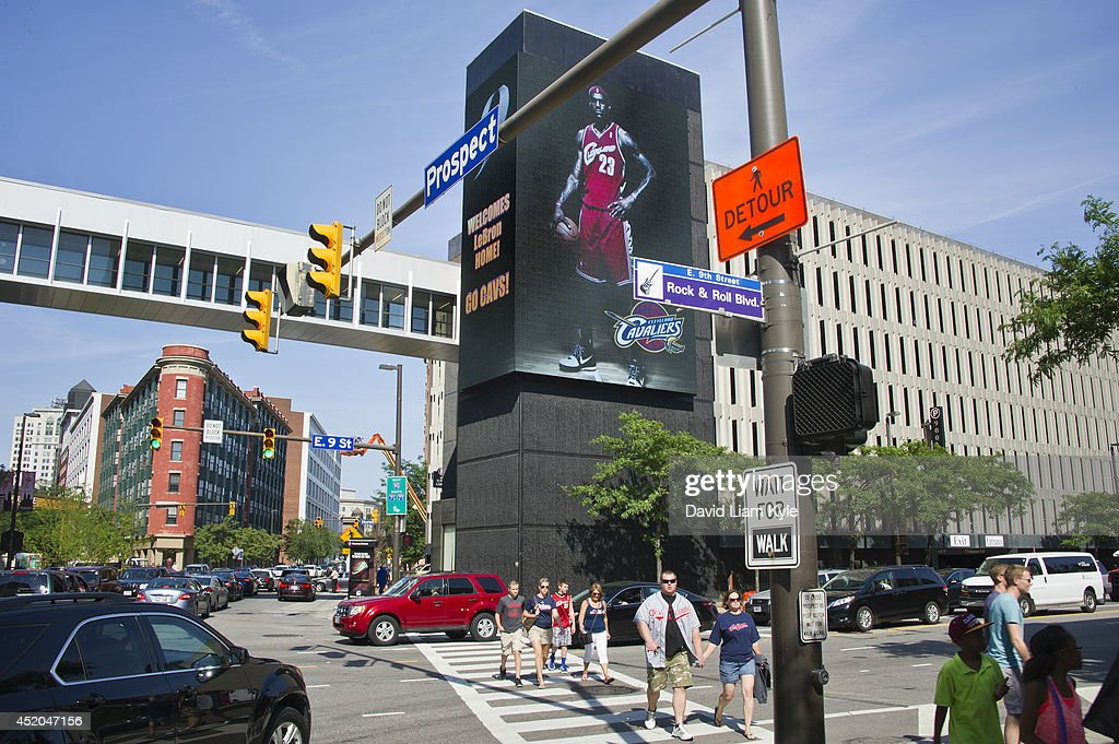 Billboards light up signaling the return of LeBron James to the Cleveland Cavaliers after a short 'detour' on July 11, 2014 in Cleveland, Ohio.