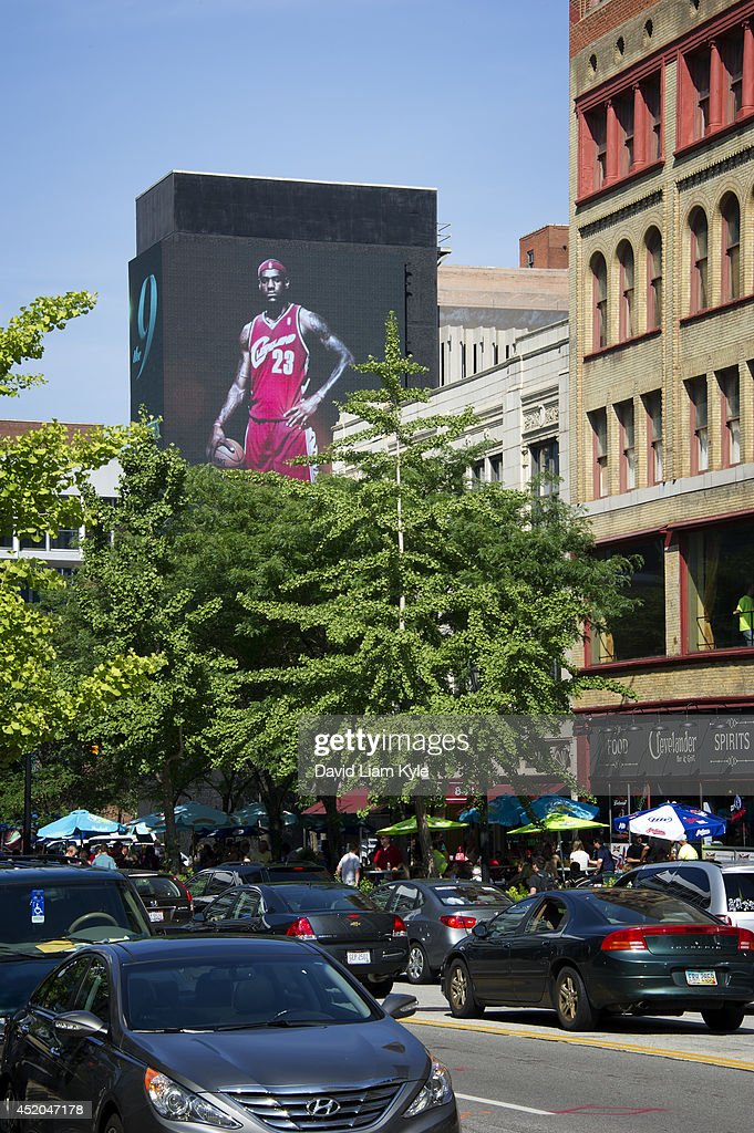 Billboards light up signaling the return of LeBron James to the Cleveland Cavaliers on July 11, 2014 in Cleveland, Ohio.