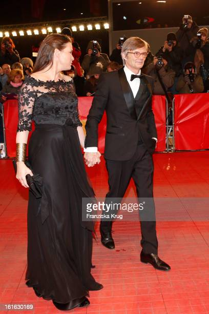 Bille August and guest attend the 'Night Train To Lisbon' Premiere BMW at the 63rd Berlinale International Film Festival at Berlinale Palast on...