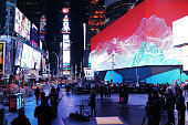 Billed as Times Square's largest and most expensive digital billboard a new megascreen is debuted in front of the Marriott Marquis hotel on November...