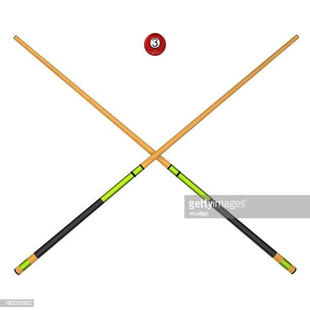 Billiard balls and cues