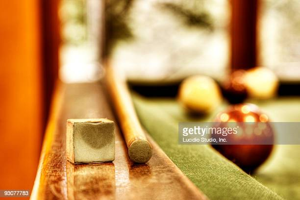 Billiard balls and table