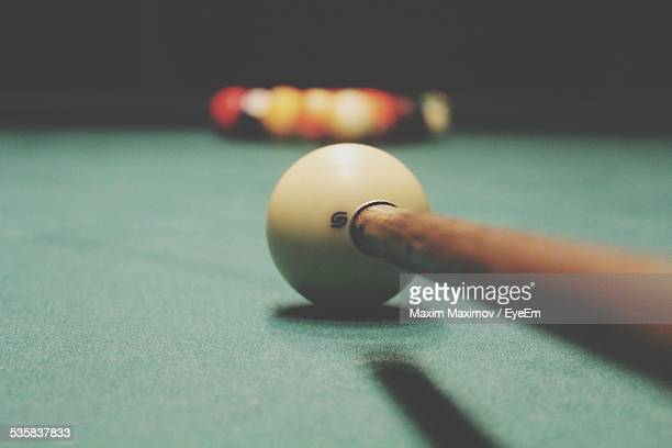 Billiard Balls Set Up For Breaking Shot