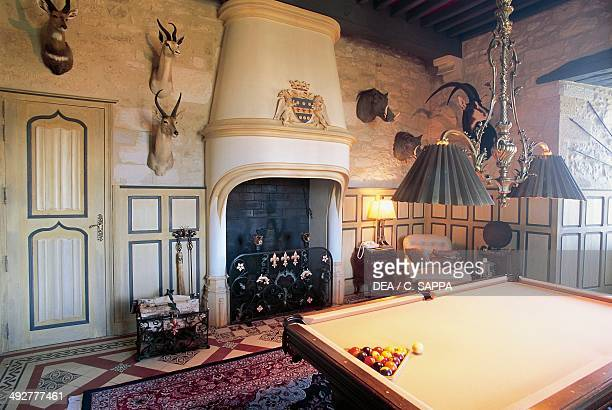 Billiard room with a hunting trophy Chateau of Fayrac CastelnaudlaChapelle Aquitaine France