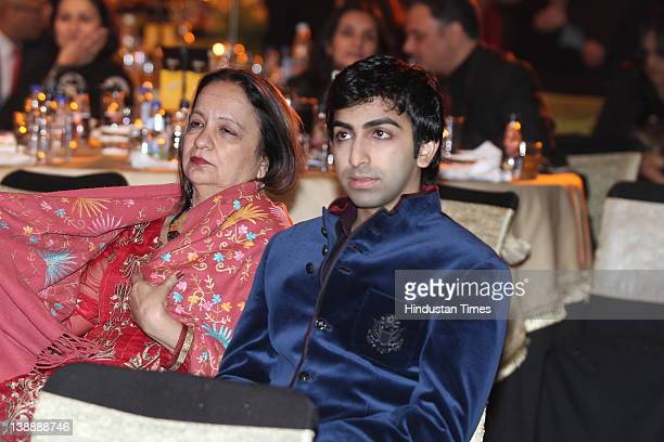Billiards and snooker player Pankaj Advani and his mother Kajal Advani attend the 11th Teacher's Achievement Awards ceremony at ITC Maurya on...