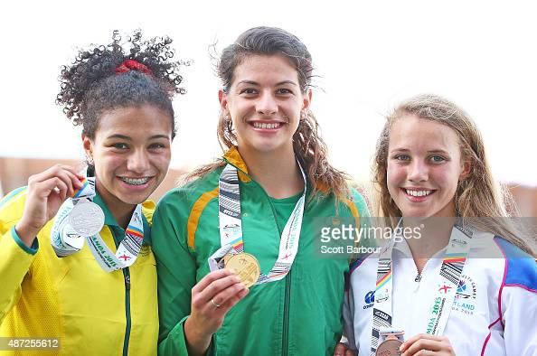 Billie Arch of Australia Renate Monika Van Tonder of South Africa and Rachel Alexander of Scotland pose with their medals after the medal...