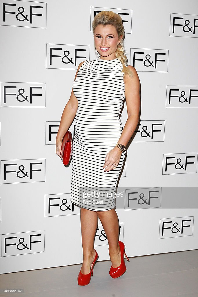 <a gi-track='captionPersonalityLinkClicked' href=/galleries/search?phrase=Billie+Faiers&family=editorial&specificpeople=7765847 ng-click='$event.stopPropagation()'>Billie Faiers</a> attends the F&F aw14 Fashion show at Somerset House on April 3, 2014 in London, England.