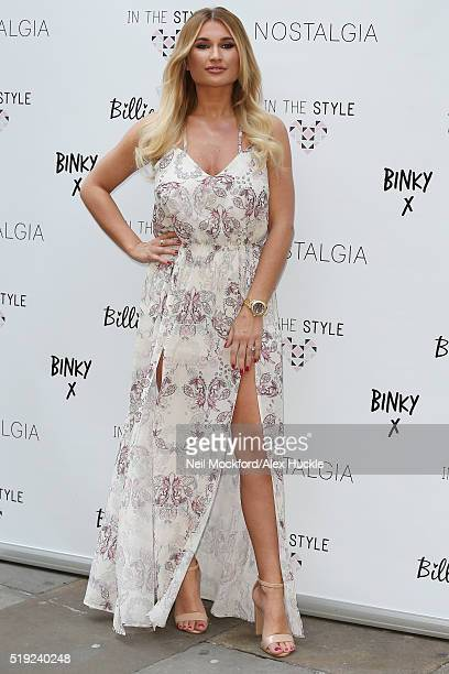 Billie Faiers seen modelling her 'In The Style' clothing range outside The Soho Sanctum on April 5 2016 in London England