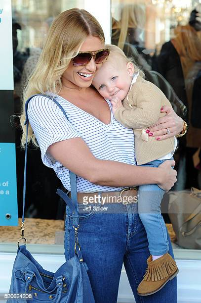 Billie Faiers with daughter Nelly arrive at Amy Childs' relaunch of her Essex based Clinic at Unit 1 Wilsons Corner on April 12 2016 in Brentwood...