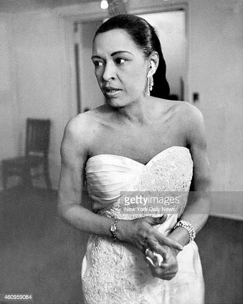 Billie Holiday backstage at Town Hall at her last major jazz concert before she became ill Acknowledged to be one of the greatest jazz singers Lady...