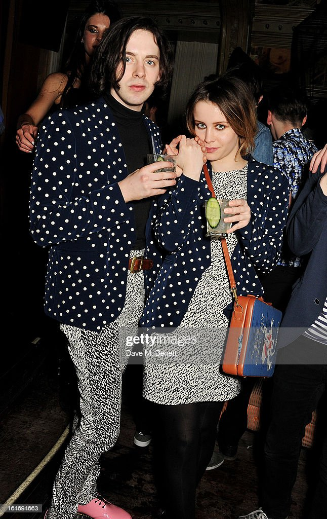 Billie J D Porter (R) attends the ABSOLUT Elyx launch party at The Box Soho on March 26, 2013 in London, England.