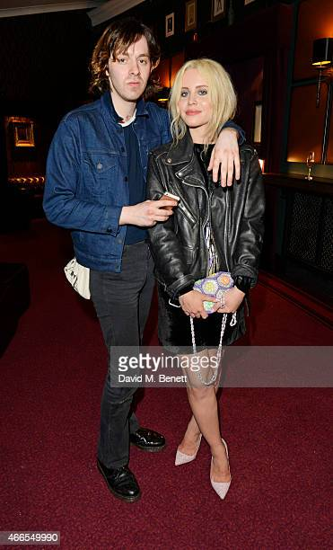 Billie JD Porter and guest attend a private view of 'He Wore Dreams Around Unkind Faces' an exhibition by Noel Fielding at the Royal Albert Hall on...
