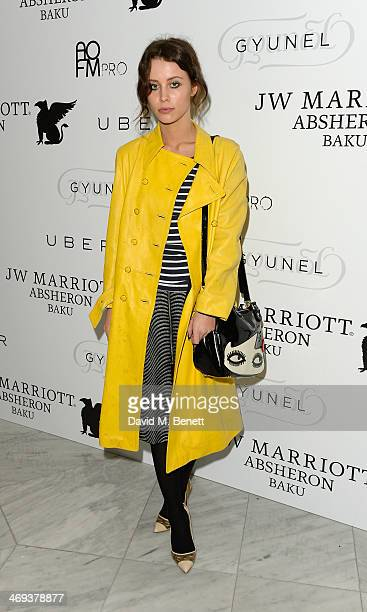 Billie JD Porter arrives at the Gyunel AW 14 LFW Show at ME Hotel on February 14 2014 in London England