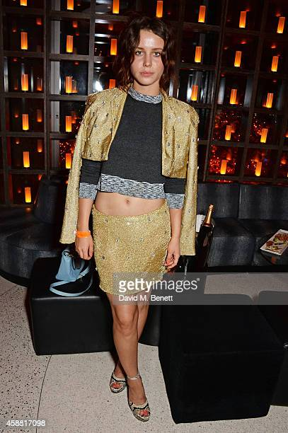 Billie JD Porter attends Sushisamba's second anniversary celebration with a performance by Lily Allen at VIP at Sushi Samba on November 11 2014 in...