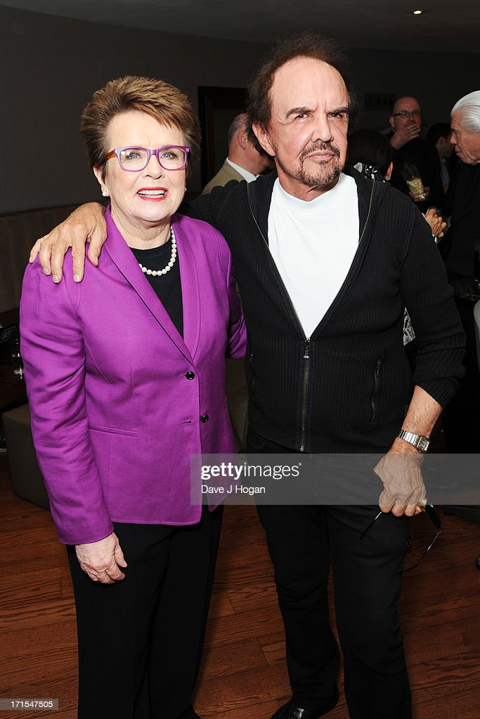 <a gi-track='captionPersonalityLinkClicked' href=/galleries/search?phrase=Billie+Jean+King&family=editorial&specificpeople=93147 ng-click='$event.stopPropagation()'>Billie Jean King</a> and Dave Clark attend the UK premiere of 'Battle Of The Sexes' at The Vue Leicester Square on June 26, 2013 in London, England.