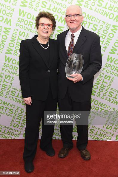Billie Jean King and Don Sabo pose with Billie Jean King Contribution Award backstage at the 36th Annual Salute to Women In Sports at Cipriani Wall...