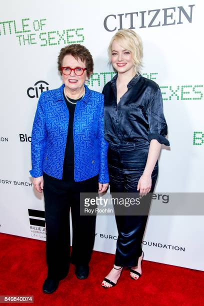 Billie Jean King and Emma Stone attend 'Battle of the Sexes' special anniversary screening at SVA Theater on September 19 2017 in New York City